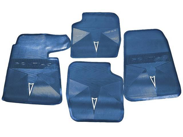 FLOOR MATS, Blue, OE Style w/ correct features incl a silver embossed *Arrowhead* emblem w/ *PONTIAC* lettering on the front and rear mats, (4), repro