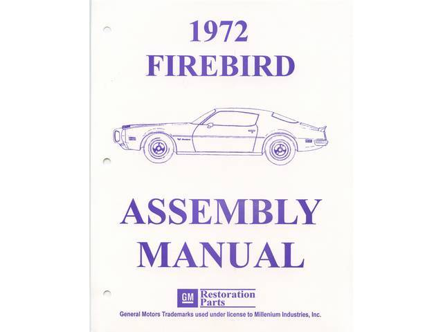 BOOK, Factory Assy Manual, contains illustrations and diagrams of how cars were originally put together, reprint