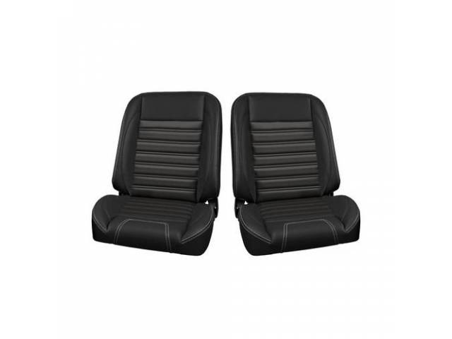 COMPLETE SEAT SET, TMI Pro Classic Series, Sport Style, Low Back Bucket w/o headrest, black madrid grain vinyl w/ white contrast stitching, universal cover design, all new metal frame allows for reclining and sliding, 26 1/2 inches tall (mounting bracket