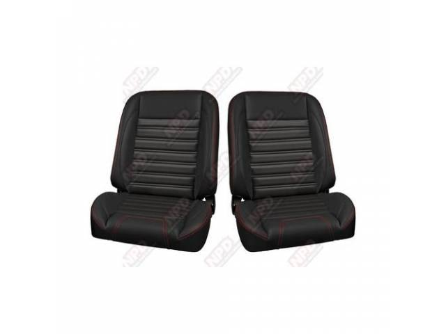 COMPLETE SEAT SET, TMI Pro Classic Series, Sport Style, Low Back Bucket w/o headrest, black madrid grain vinyl w/ red contrast stitching, universal cover design, all new metal frame allows for reclining and sliding, 26 1/2 inches tall (mounting bracket ad
