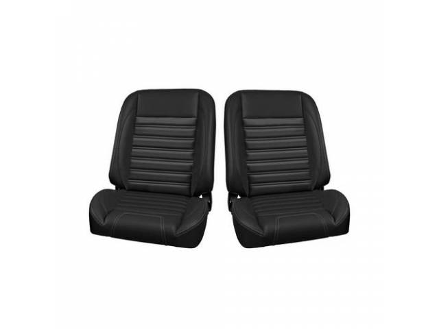 COMPLETE SEAT SET, TMI Pro Classic Series, Sport Style, Low Back Bucket w/o headrest, black madrid grain vinyl w/ gray contrast stitching, universal cover design, all new metal frame allows for reclining and sliding, 26 1/2 inches tall (mounting bracket a