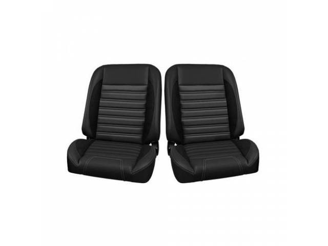COMPLETE SEAT SET, TMI Pro Classic Series, Sport R Style, Low Back Bucket w/o headrest, black madrid grain vinyl w/ black unisuede inserts and gray contrast stitching, universal cover design, all new metal frame allows for reclining and sliding, 26 1/2 in