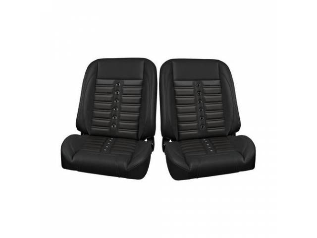 COMPLETE SEAT SET, TMI Pro Classic Series, Sport X Style, Low Back Bucket w/o headrest, black madrid grain vinyl w/ black contrast stitching, and black grommets w/ black inserts, universal cover design, all new metal frame allows for reclining and sliding