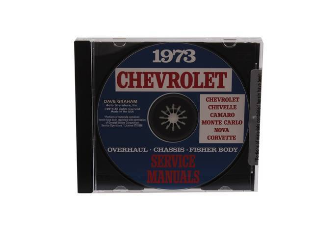 SHOP MANUAL ON CD, 1973 Chevrolet, Incl 1973 Chevrolet chassis, overhaul and Fisher body manuals