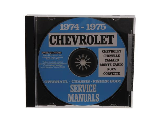 SHOP MANUAL ON CD, 1974-75 Chevrolet, Incl 1974-75 Chevrolet chassis, overhaul and Fisher body manuals