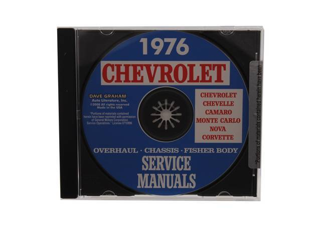 SHOP MANUAL ON CD, 1976 Chevrolet, Incl 1976