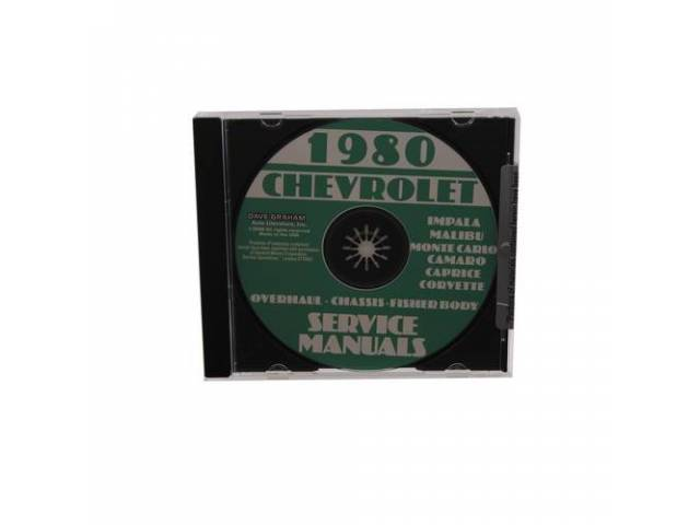 SHOP MANUAL ON CD, 1980 Chevrolet, Incl 1980 Chevrolet chassis, overhaul and Fisher body manuals