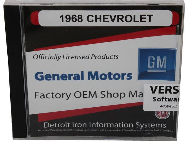 SHOP MANUAL ON CD, 1968 Chevrolet, Incl 1968 Chevrolet chassis, overhaul and Fisher body manuals, 1938-68 and 1964-72 Chevrolet parts manuals