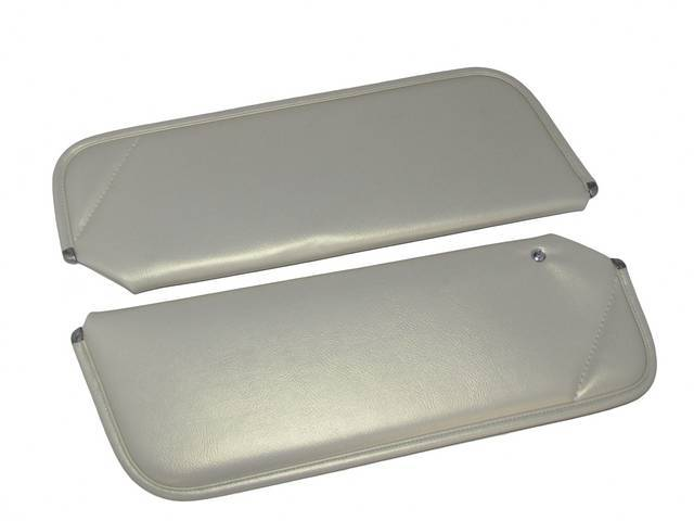 SUNVISOR SET, Oyster, Madrid Grain, 1 Pin Style w/ set screw (screw will face down on RH side, up on LH side, just like original), Repro