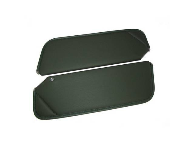 SUNVISOR SET, Green, Non Perforated Grain, 1 Pin Style w/ set screw (screw will face down on RH side, up on LH side, just like original), Repro