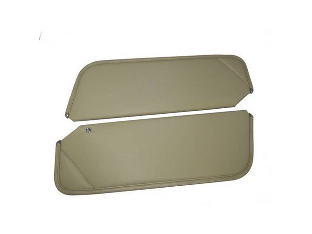 SUNVISOR SET, Sandalwood / Neutral, Non Perforated Grain, 1 Pin Style w/ set screw (screw will face down on RH side, up on LH side, just like original), Repro