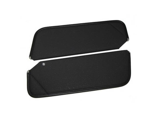 SUNVISOR SET, Black, Perforated Grain, 1 Pin Style w/ set screw (screw will face down on RH side, up on LH side, just like original), Repro