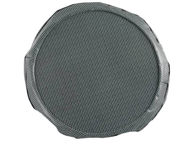 TIRE COVER, 15 Inch, Aqua and Black Houndstooth, W/ hardboard, repro