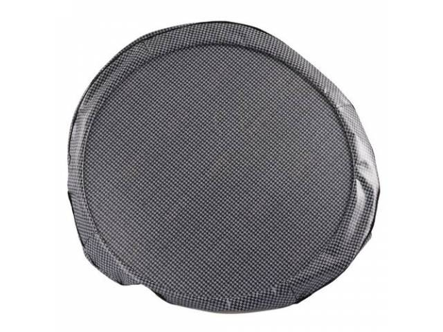 Tire Cover 14 Inch Gray Houndstooth W/ Hardboard