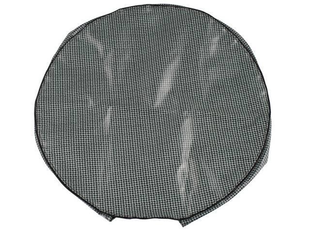TIRE COVER, 14 or 15 Inch, Aqua houndstooth, w/o hardboard, OE Style Repro