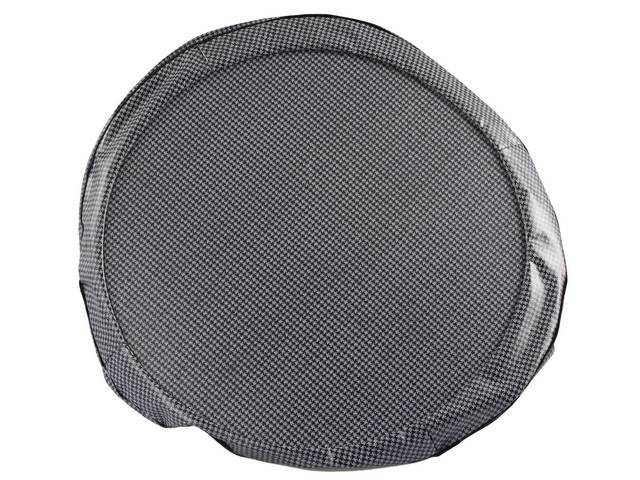 TIRE COVER, 14 Inch, Gray and Black Houndstooth, W/ hardboard, repro