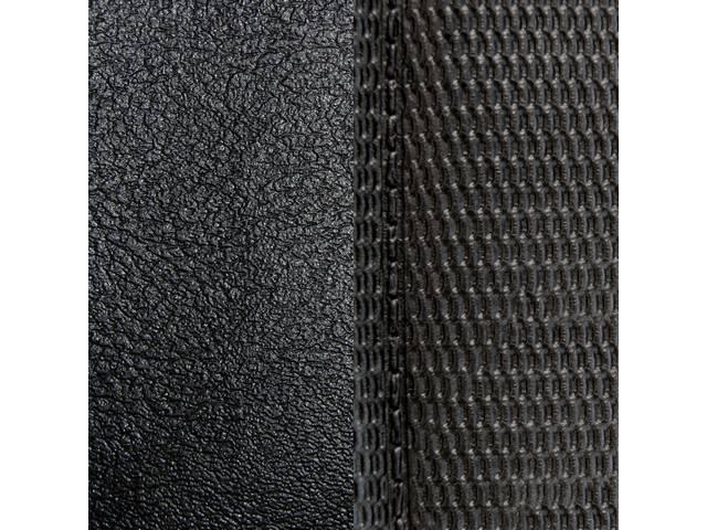 UPHOLSTERY SET, Premium, Front Buckets, Dlx, Black, Madrid Grain Vinyl W/ Comfortweave Inserts, Pair