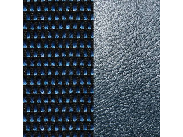 UPHOLSTERY SET, Premium, Front Buckets, Dlx Cloth, Blue / Black Salt and Pepper / Blue, Madrid Grain Vinyl W/ Salt and Pepper Cloth Inserts