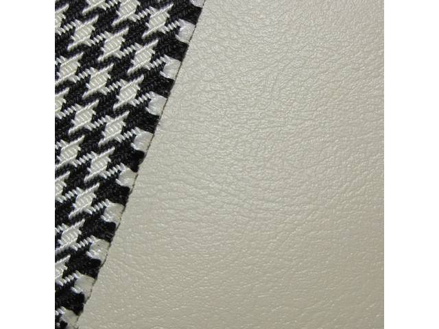 UPHOLSTERY SET, Front and Rear W/ Bucket Fronts and Fold Down Rear, Dlx Houndstooth, Ivory, Madrid Grain Vinyl W/ Houndstooth Cloth Inserts, Incl Buttons