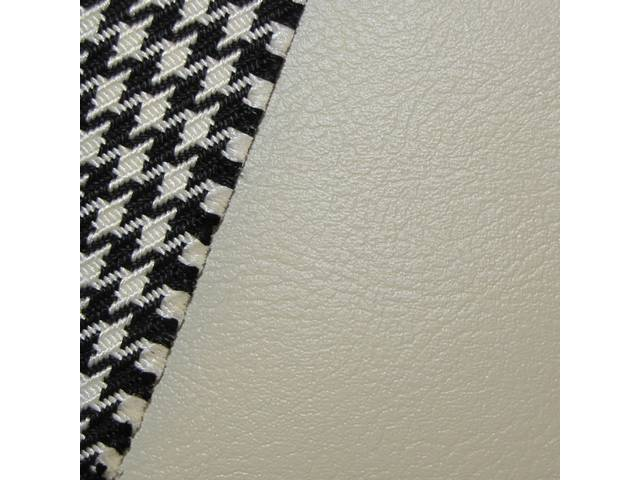 UPHOLSTERY SET, Front Buckets, Dlx Houndstooth, Ivory, Madrid Grain Vinyl W/ Houndstooth Cloth Inserts