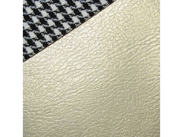 UPHOLSTERY SET, Front Buckets, Dlx Houndstooth, Parchment, Madrid Grain Vinyl W/ Houndstooth Cloth Inserts, Pair
