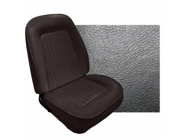 UPHOLSTERY SET, Front and Rear W/ Bucket Fronts and Fold down Rear, Std, Black, Madrid Grain Vinyl, Rear seat measures 48 inch wide