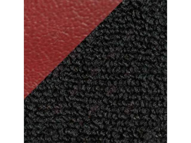 CARPET, Raylon Weave, black w/ 2 red inserts,