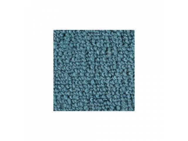 CARPET, LOOPED NYLON WEAVE, 65-68 AQUA, FRONT AND