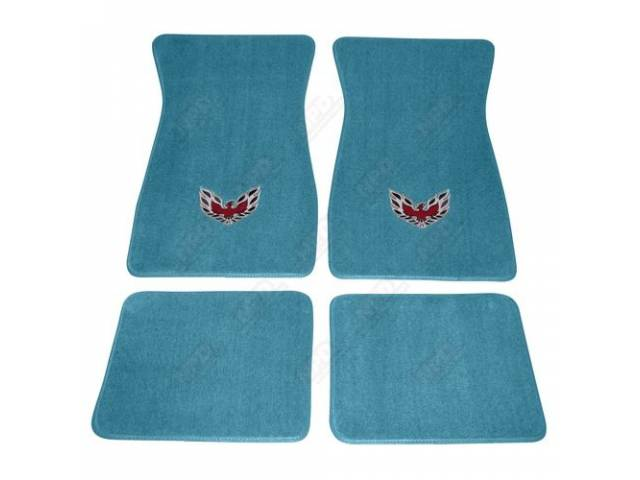 Floor Mats Carpet Cut Pile Turquoise W/ Flaming