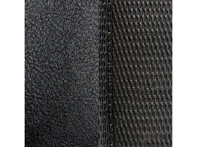 UPHOLSTERY SET, Front Bench, Dlx, 50-50 split back w/ arm rest (incl arm rest material), Black, Madrid Grain Vinyl W/ Comfortweave Inserts
