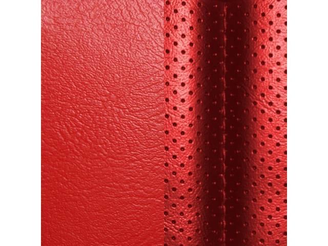 UPHOLSTERY SET, Rear, Dlx, Bright Red, Madrid Grain Vinyl W/ Tetra Inserts