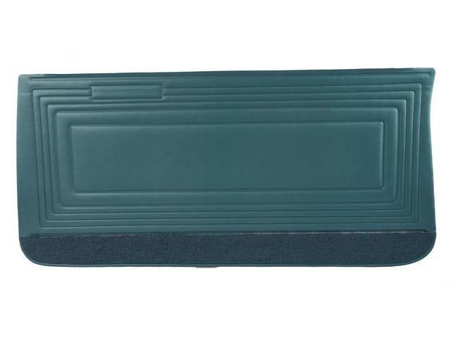 PANEL SET, Inside Door, Std, Dark Aqua (actual color, GM called Turquoise or Dark Turquoise) w/ aqua lower carpets, PUI, *Silver Edition*, madrid grain vinyl