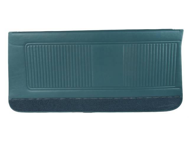 PANEL SET, Inside Door, Std, Dark Aqua (actual color, GM called Turquoise / Dark Turquoise) w/ aqua lower carpets, PUI, *Silver Edition*, madrid grain vinyl