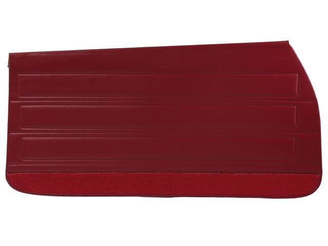 PANEL SET, Inside Door, Std, Red (actual color, GM called Red or Medium Red) w/ red lower carpets, PUI, *Silver Edition*, madrid grain vinyl