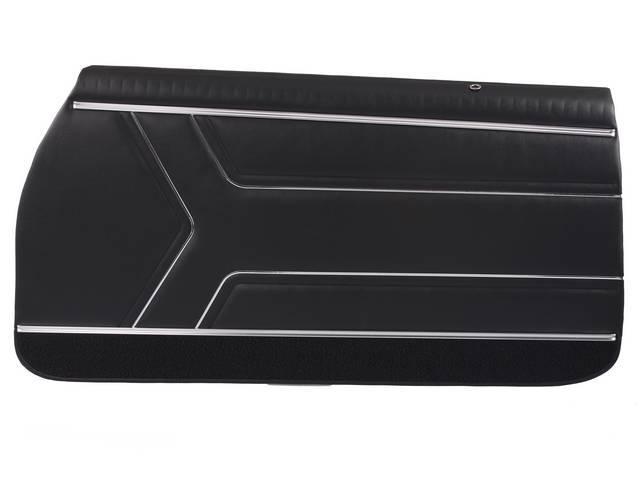 PANEL SET, Inside Door, Pre-Assembled, Std, Black w/ black lower carpets, PUI, *Silver Edition*, madrid grain vinyl