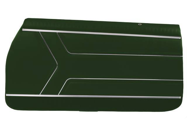 PANEL SET, Inside Door, Pre-Assembled, Std, Dark Metallic Green (actual color, GM called Green or Midnight Green) w/ green lower carpets, PUI, *Silver Edition*
