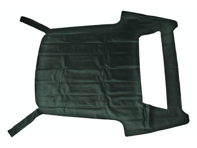 VINYL TOP, Double Seam, Dark Green w/ full coverage and rear pillars (trim as necessary), Levant Grain
