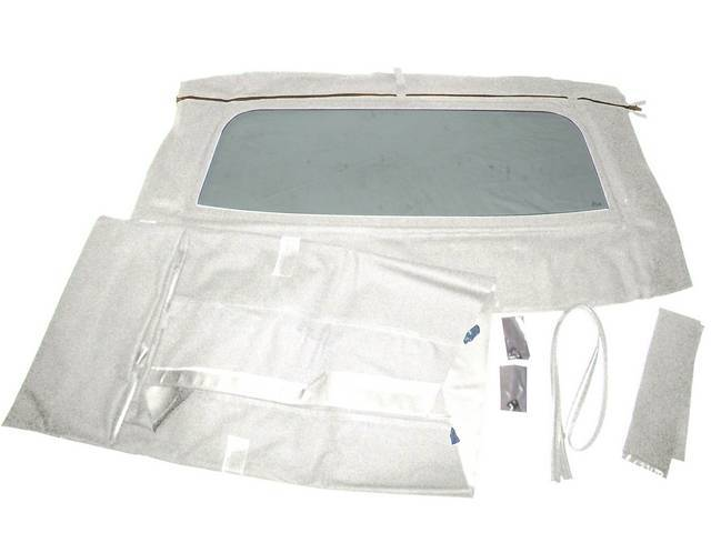 CONVERTIBLE TOP KIT, WHITE, W/ SOLID GLASS CURTAIN,