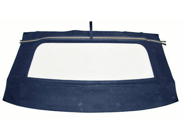 CONVERTIBLE REAR WINDOW, BLUE, W/ SOLID GLASS CURTAIN,