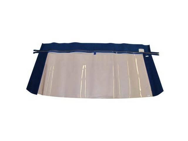 CONVERTIBLE REAR WINDOW BLUE PLASTIC W/ BRASS ZIPPER