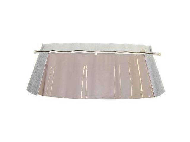 CONVERTIBLE REAR WINDOW WHITE PLASTIC W/ BRASS ZIPPER