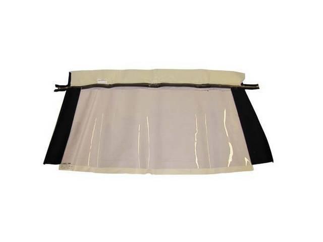 CONVERTIBLE REAR WINDOW BLACK PLASTIC W/ BRASS ZIPPER