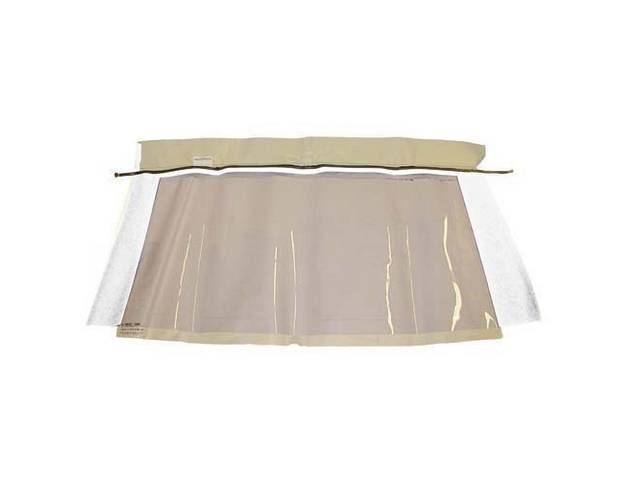 CONVERTIBLE REAR WINDOW WHITE PLASTIC W/ BRASS ZIPPER