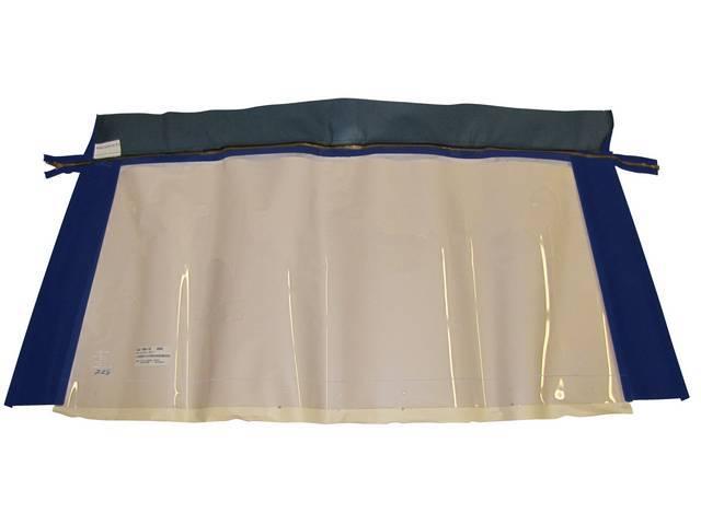 CONVERTIBLE REAR WINDOW, BLUE, PLASTIC W/ BRASS ZIPPER,
