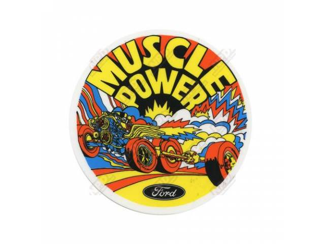 DECAL Window Muscle Power classic Ford Racing parts