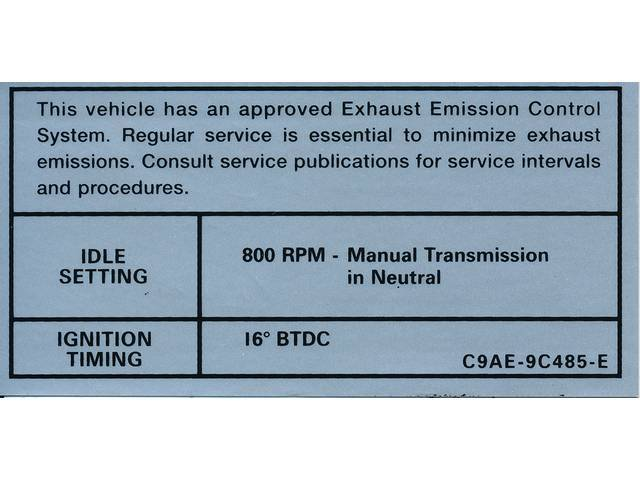 DECAL, Engine Emissions, 800 rpm idle, 16?