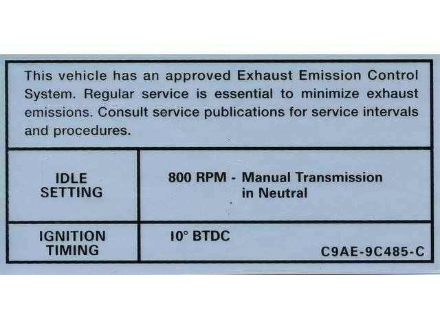 DECAL, Engine Emissions, 800 rpm idle, 10?