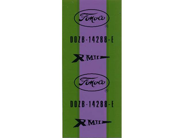 WIRE TAG, Dash to Engine Gauge, repro, green