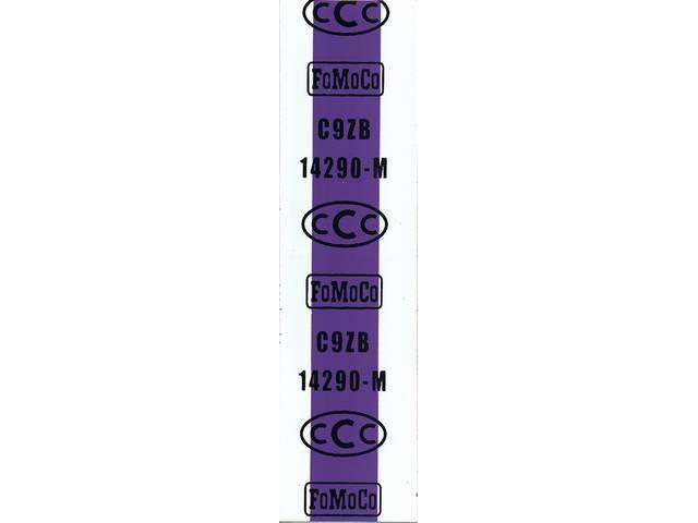 WIRE TAG, Dash to Headlight Harness, repro, purple
