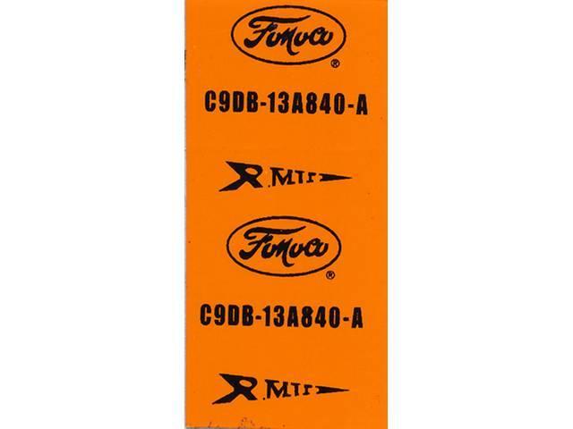 WIRE TAG, Horn Jumper Wire, repro, orange, C9DB-13A840-A
